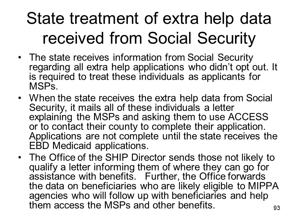 State treatment of extra help data received from Social Security
