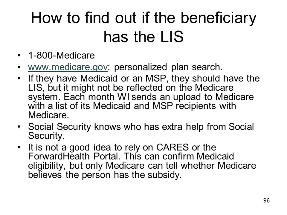 How to find out if the beneficiary has the LIS
