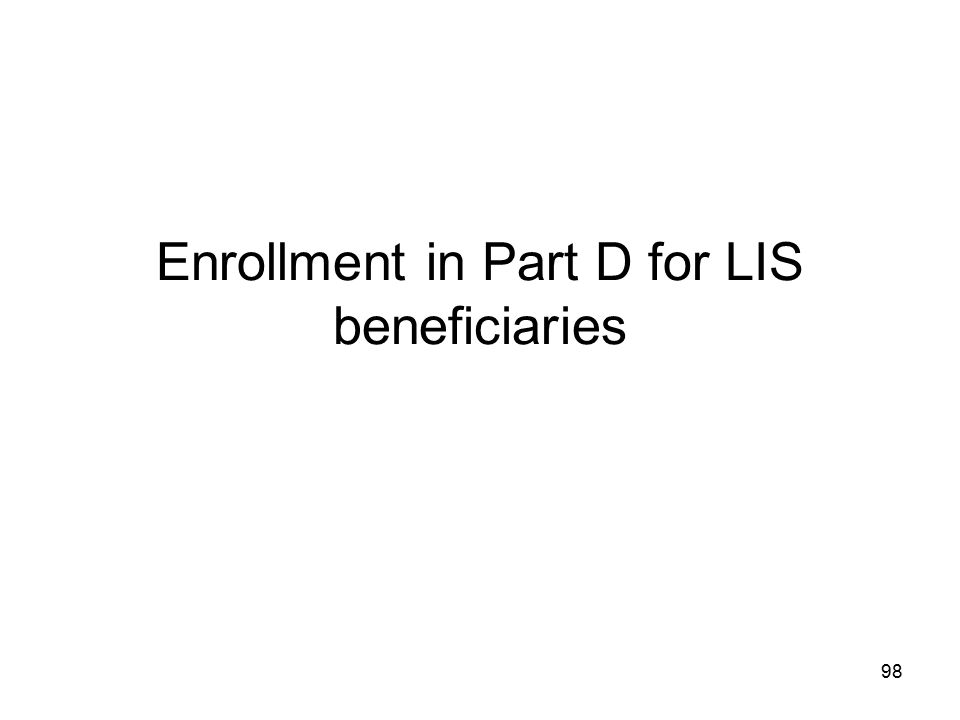Enrollment in Part D for LIS beneficiaries