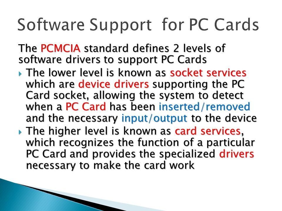 Software Support for PC Cards