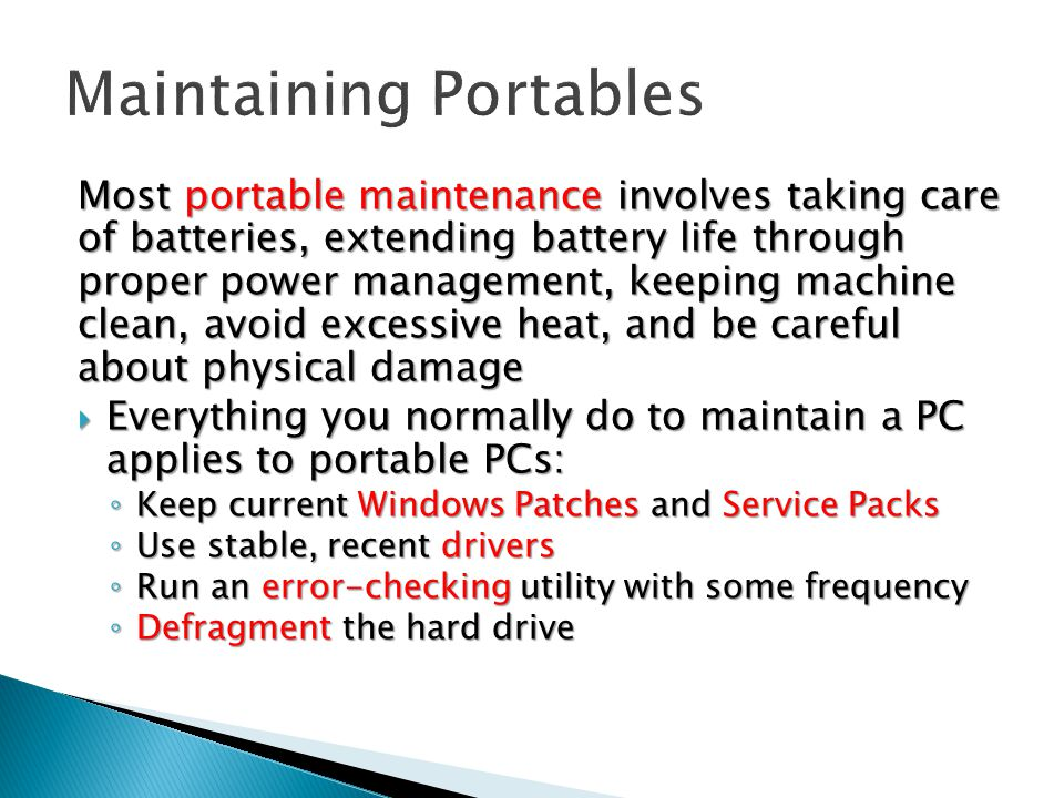 Maintaining Portables