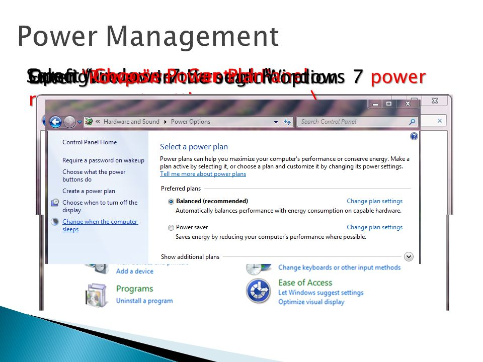 Power Management Open Windows 7 Control Panel