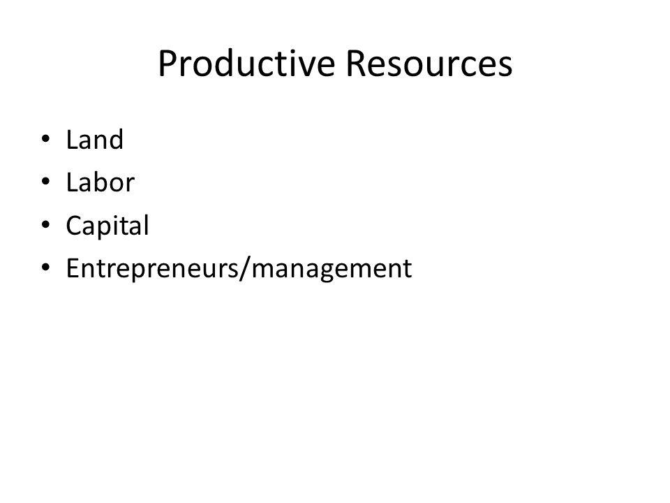 Productive Resources Land Labor Capital Entrepreneurs/management