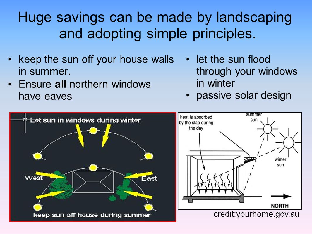 Huge savings can be made by landscaping and adopting simple principles.