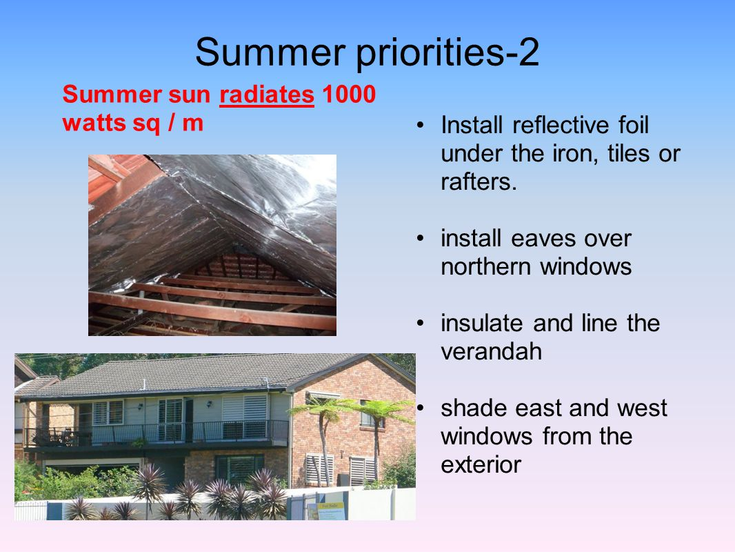 Summer priorities-2 Summer sun radiates 1000 watts sq / m