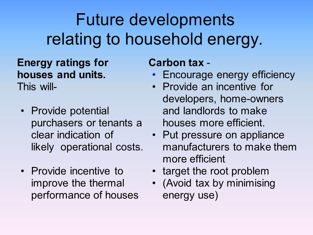 Future developments relating to household energy.
