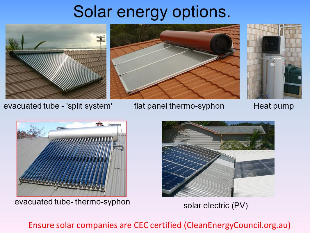Solar energy options. Thank you.