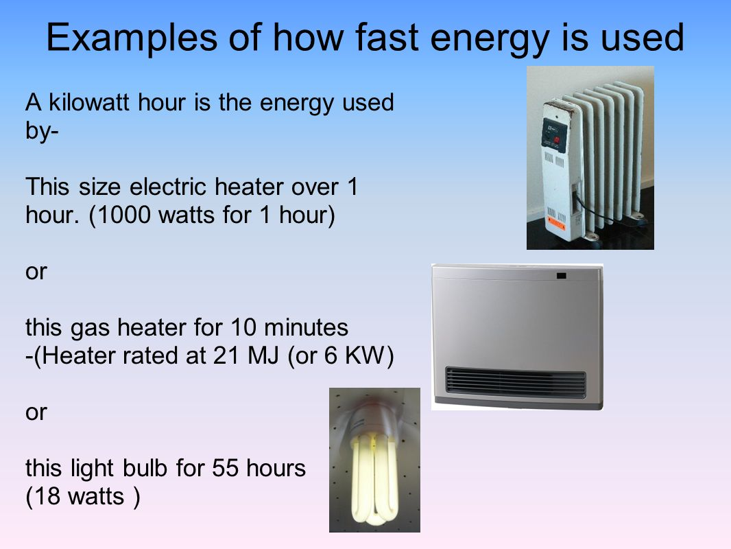 Examples of how fast energy is used