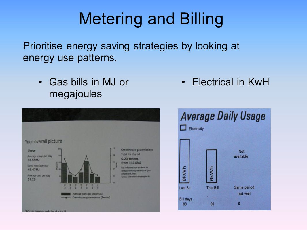 Metering and Billing Prioritise energy saving strategies by looking at energy use patterns. Gas bills in MJ or megajoules.
