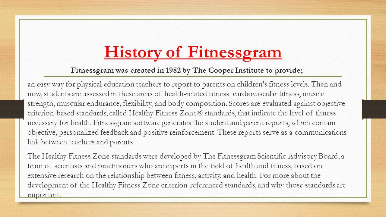 History of Fitnessgram