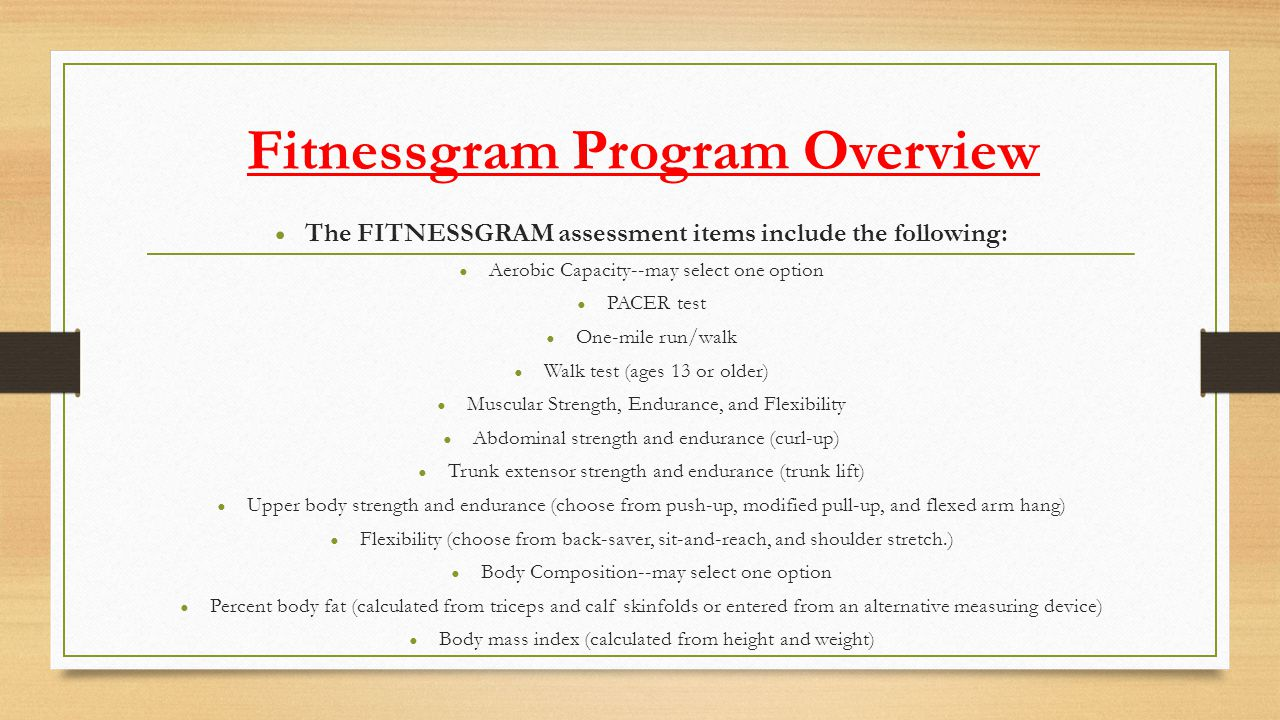 Fitnessgram Program Overview