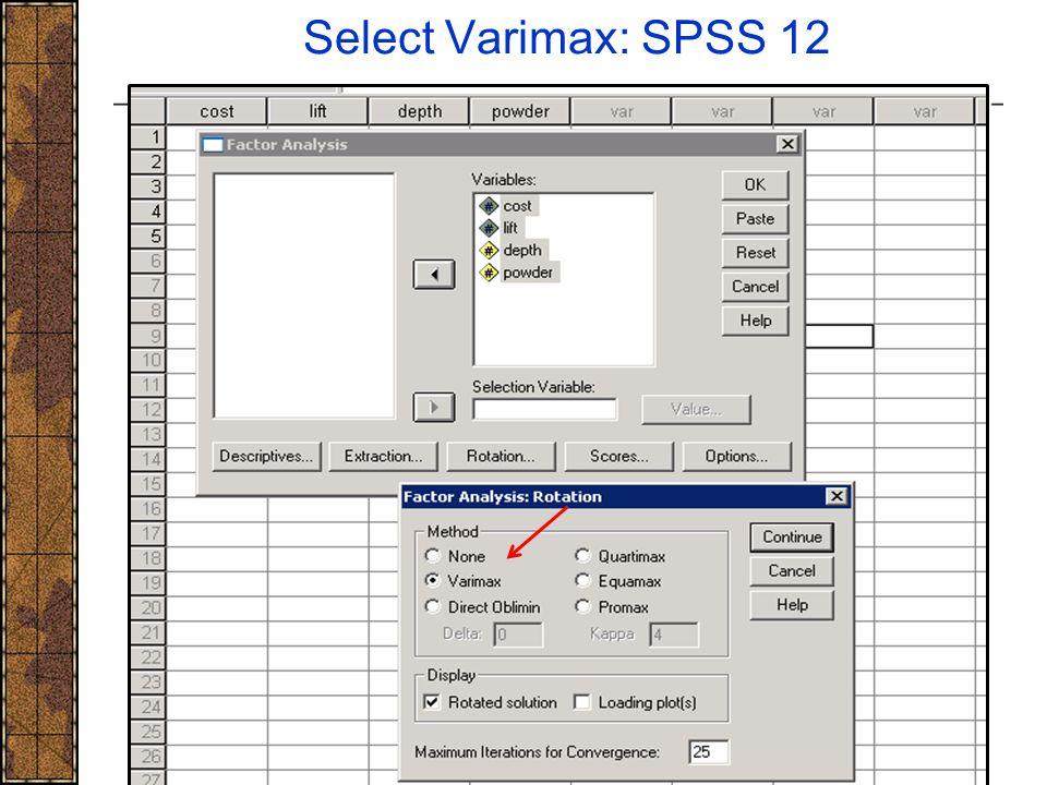 Select Varimax: SPSS 12