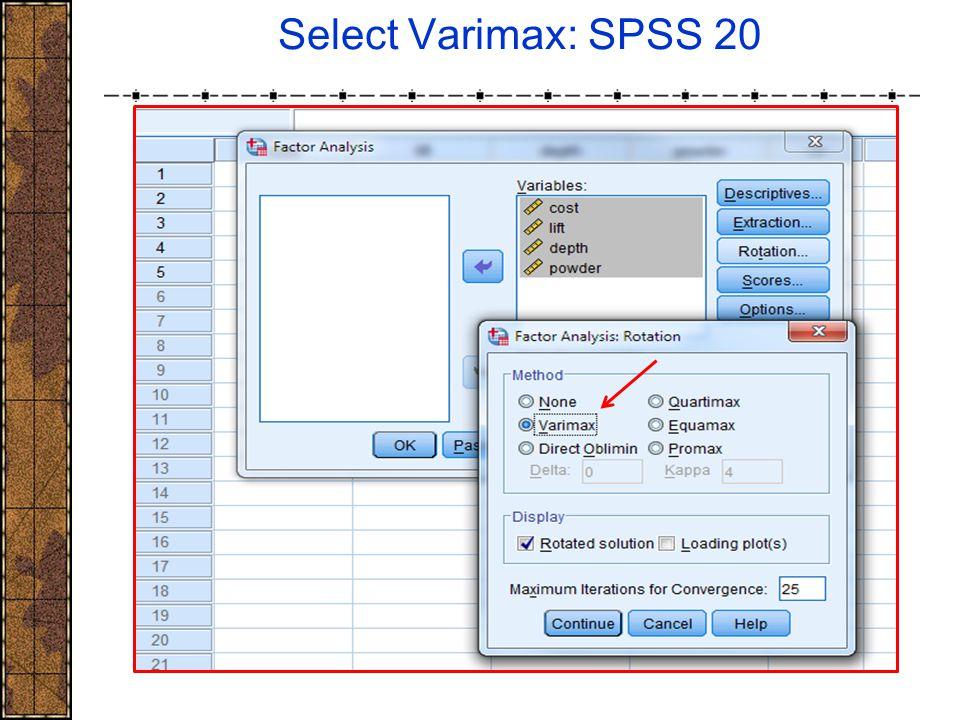 Select Varimax: SPSS 20