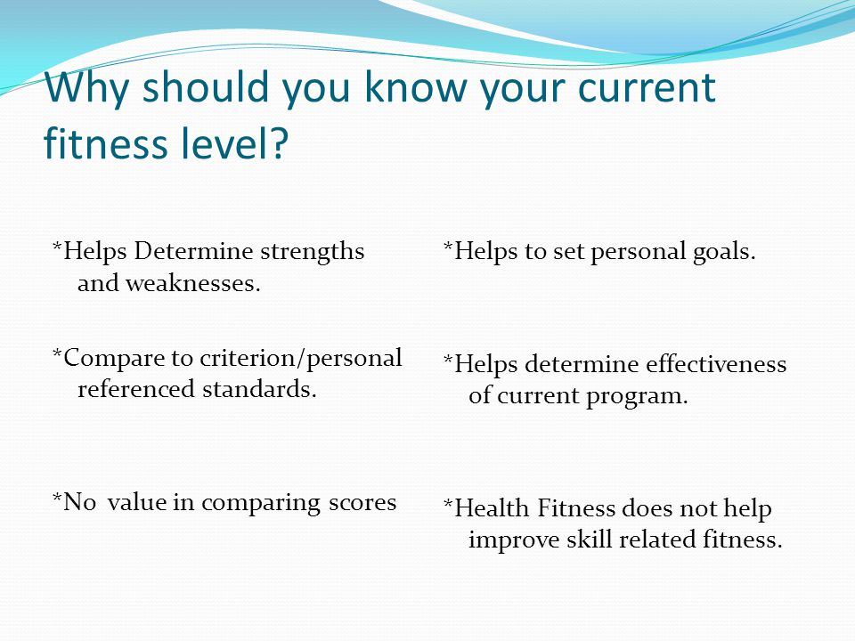 Why should you know your current fitness level