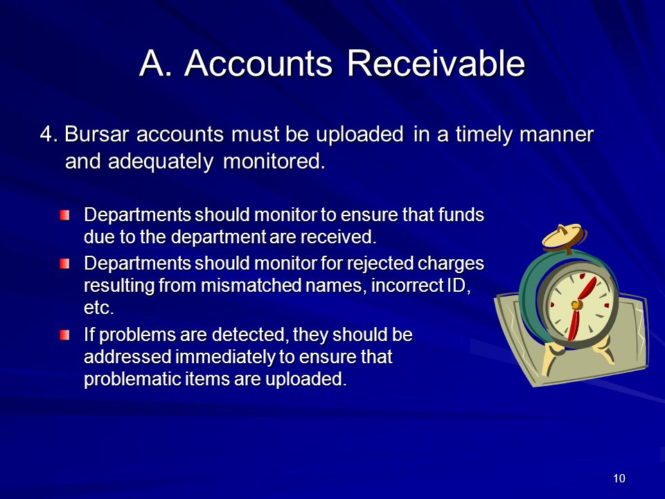 4/11/2012 A. Accounts Receivable. 4. Bursar accounts must be uploaded in a timely manner and adequately monitored.