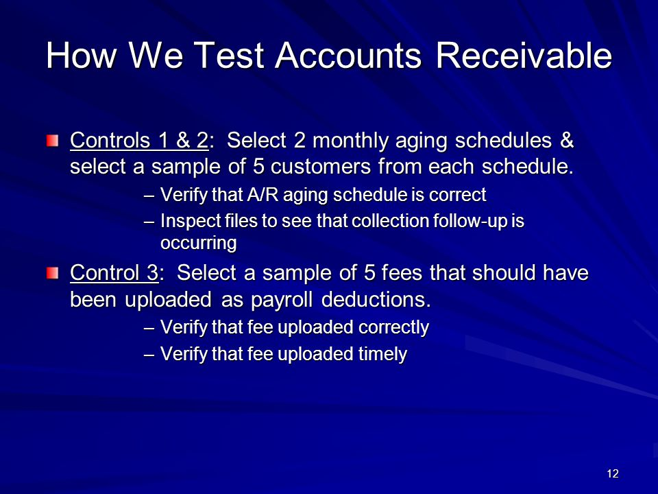 How We Test Accounts Receivable
