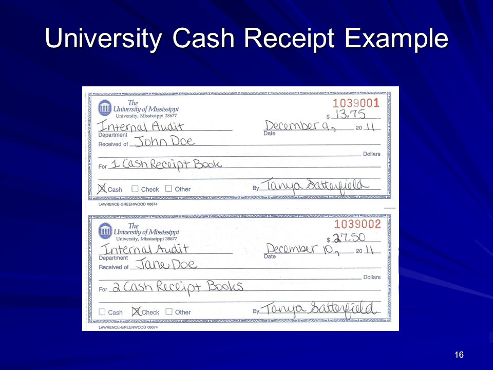 University Cash Receipt Example