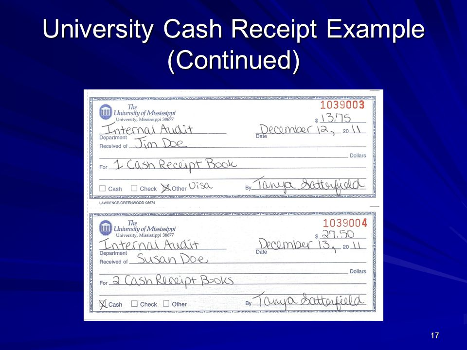 University Cash Receipt Example (Continued)