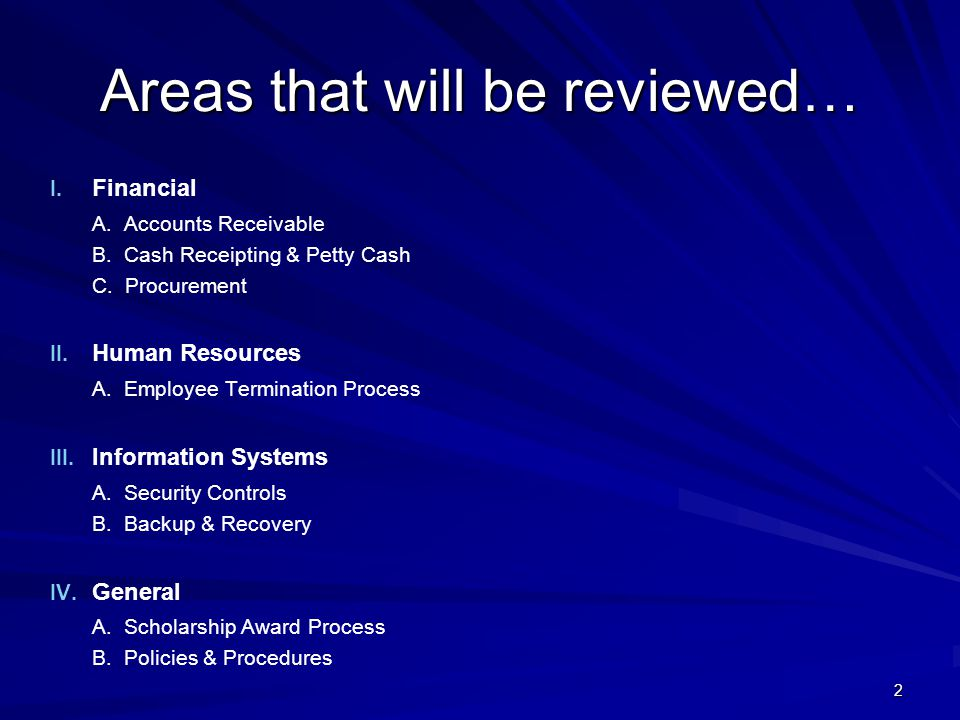 Areas that will be reviewed…