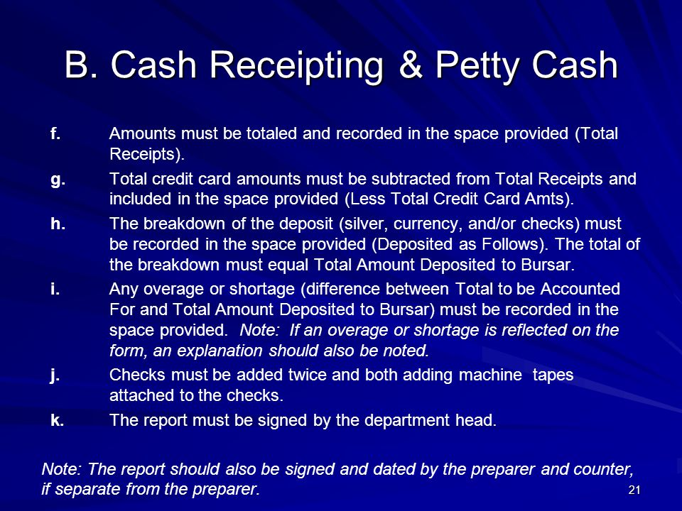 B. Cash Receipting & Petty Cash