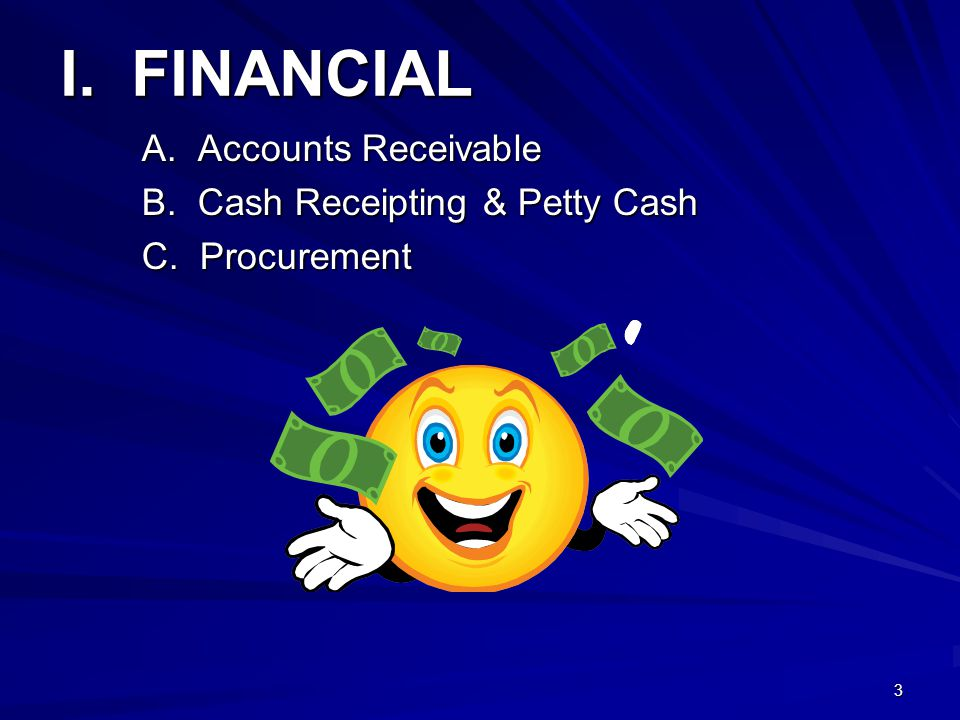 4/11/2012 I. FINANCIAL A. Accounts Receivable B. Cash Receipting & Petty Cash C. Procurement