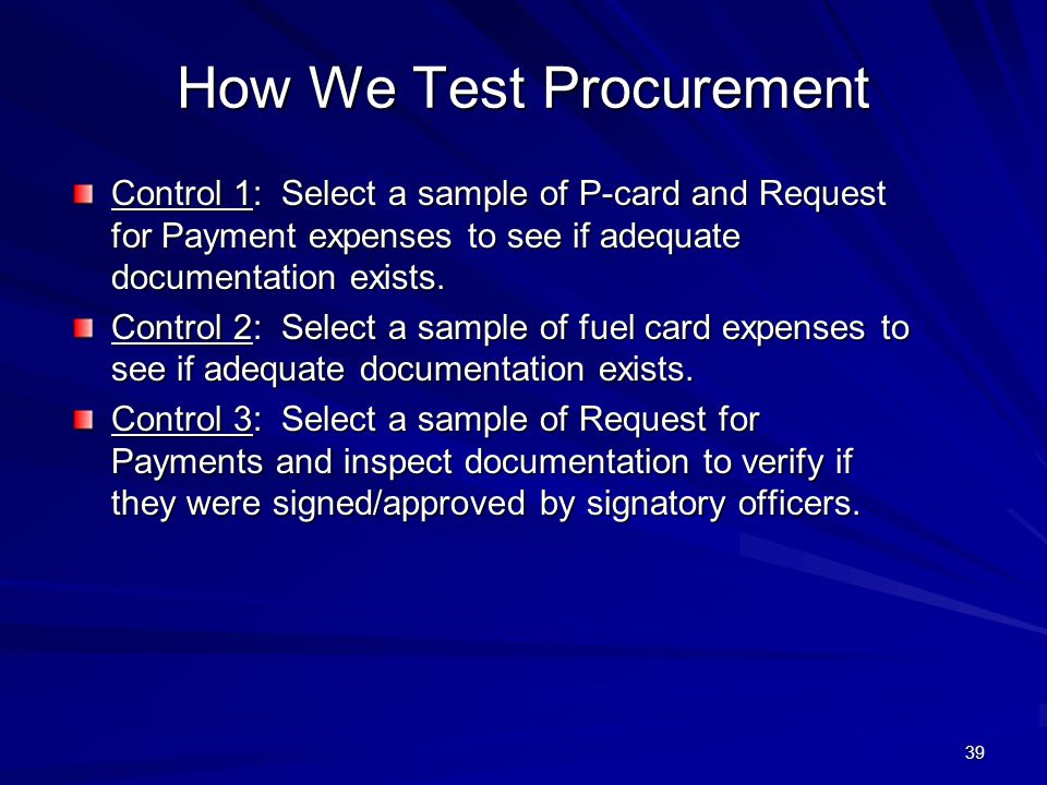How We Test Procurement