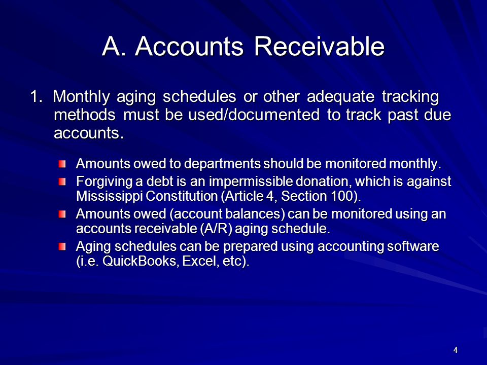 4/11/2012 A. Accounts Receivable. 1. Monthly aging schedules or other adequate tracking methods must be used/documented to track past due accounts.