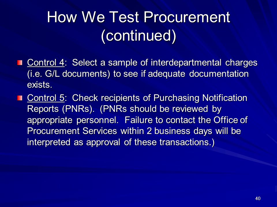 How We Test Procurement (continued)