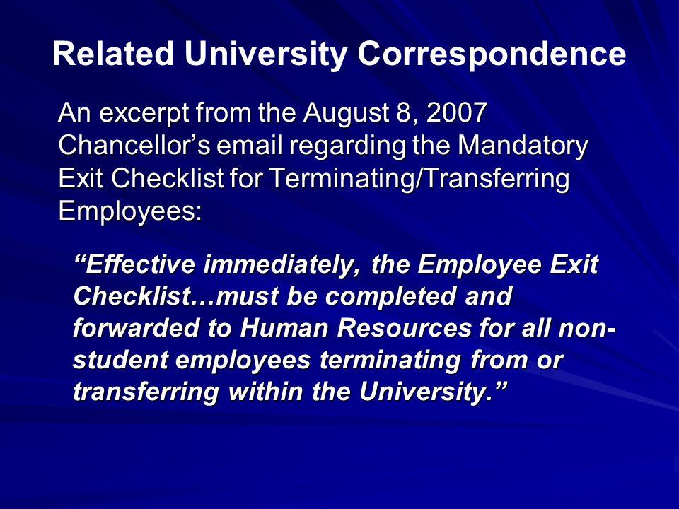 Related University Correspondence