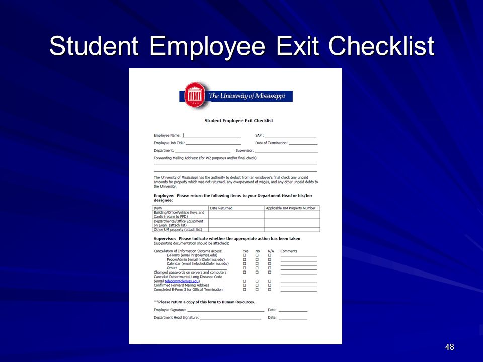 Student Employee Exit Checklist