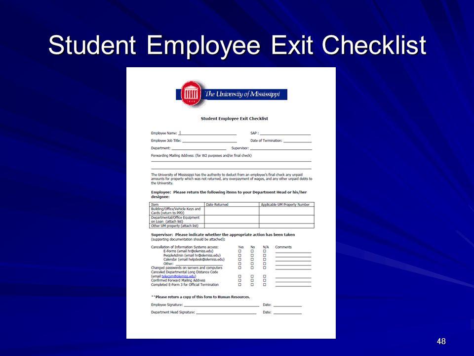 Student Employee Exit Checklist