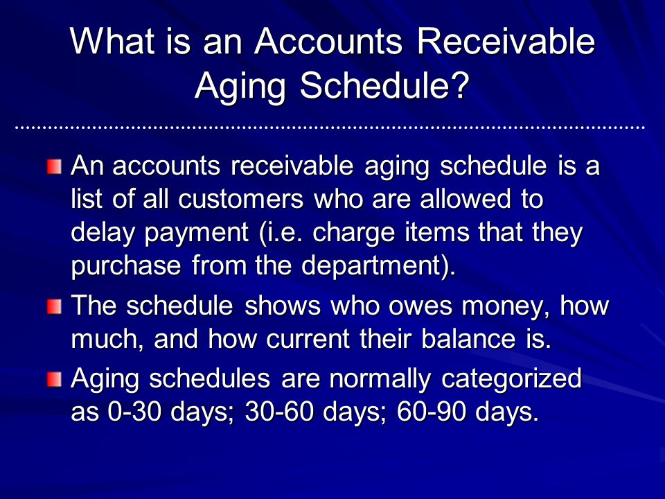 What is an Accounts Receivable Aging Schedule