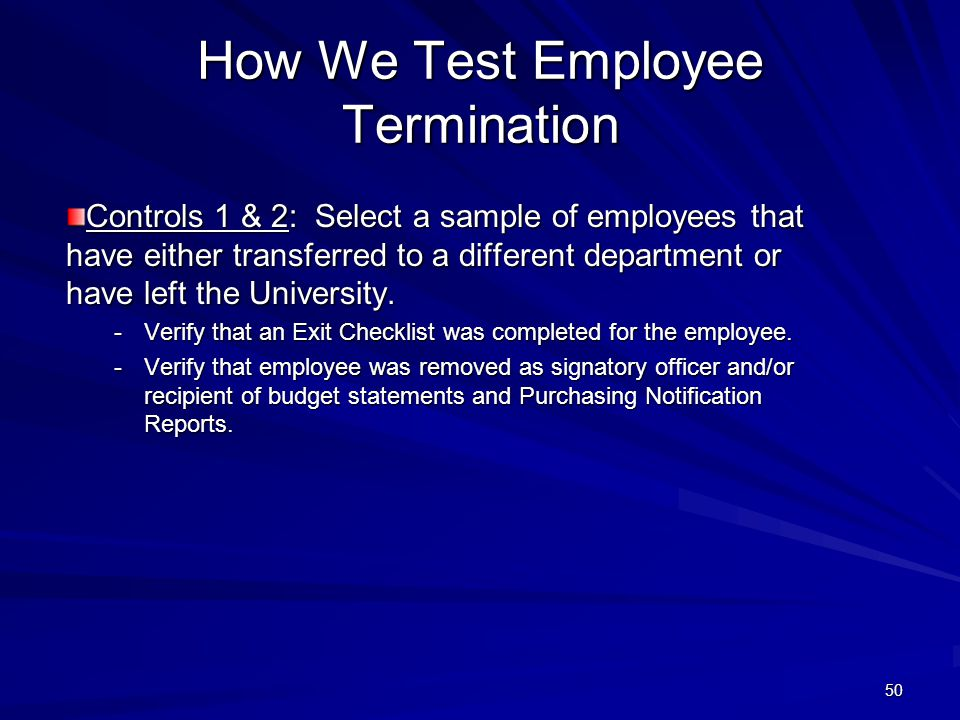 How We Test Employee Termination