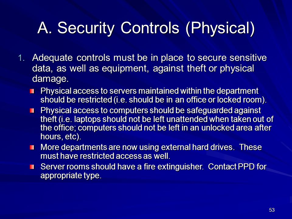 A. Security Controls (Physical)
