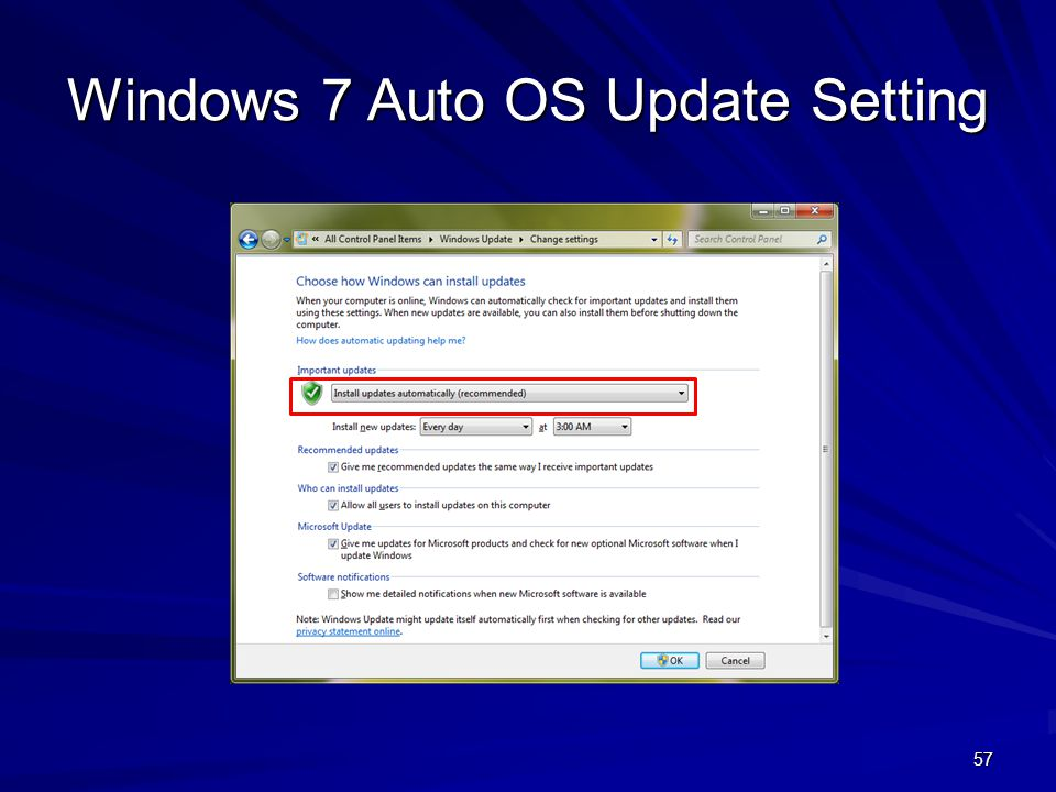 Windows 7 Auto OS Update Setting