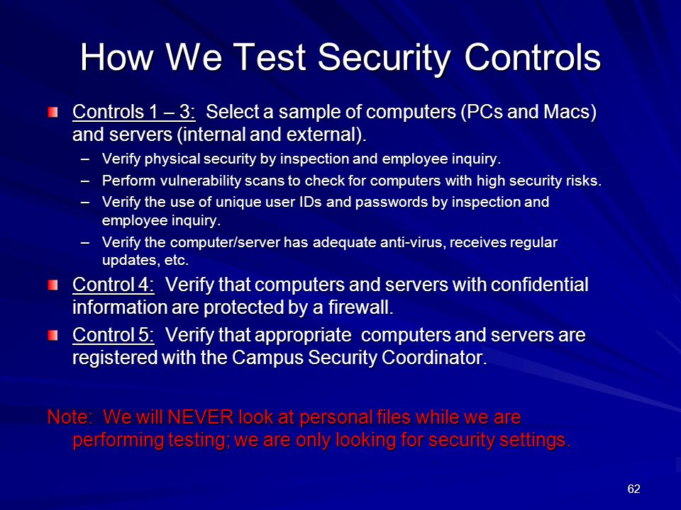 How We Test Security Controls