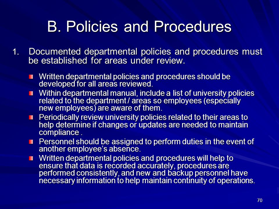 B. Policies and Procedures