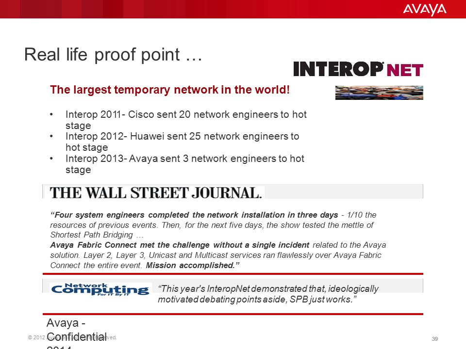 Real life proof point … The largest temporary network in the world!