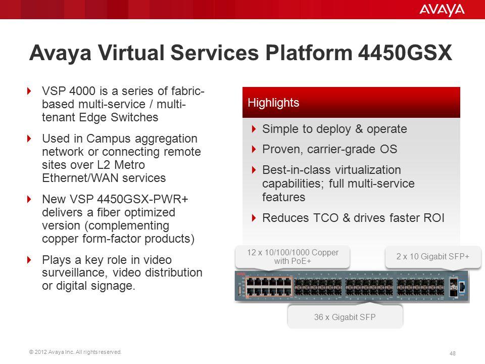 Avaya Virtual Services Platform 4450GSX