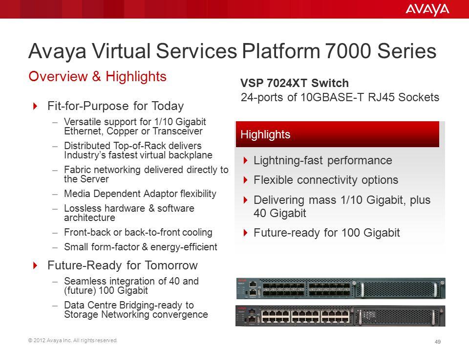 Avaya Virtual Services Platform 7000 Series