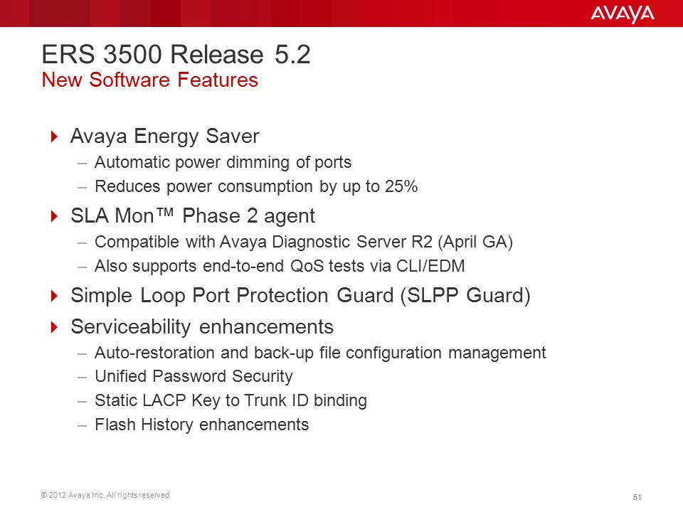 ERS 3500 Release 5.2 New Software Features