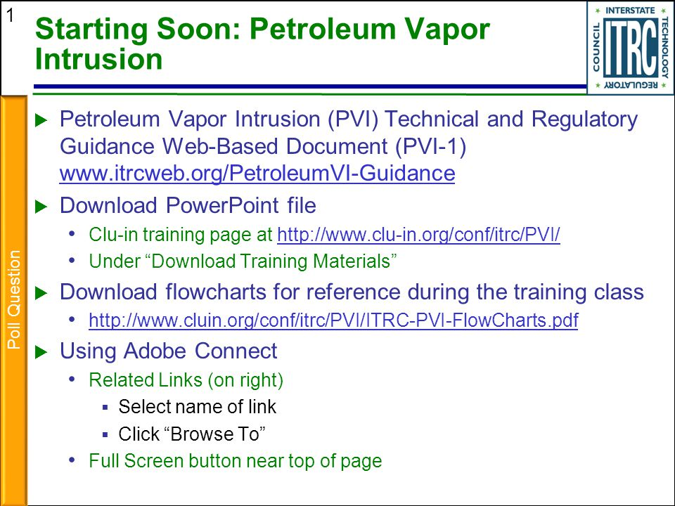 Starting Soon: Petroleum Vapor Intrusion