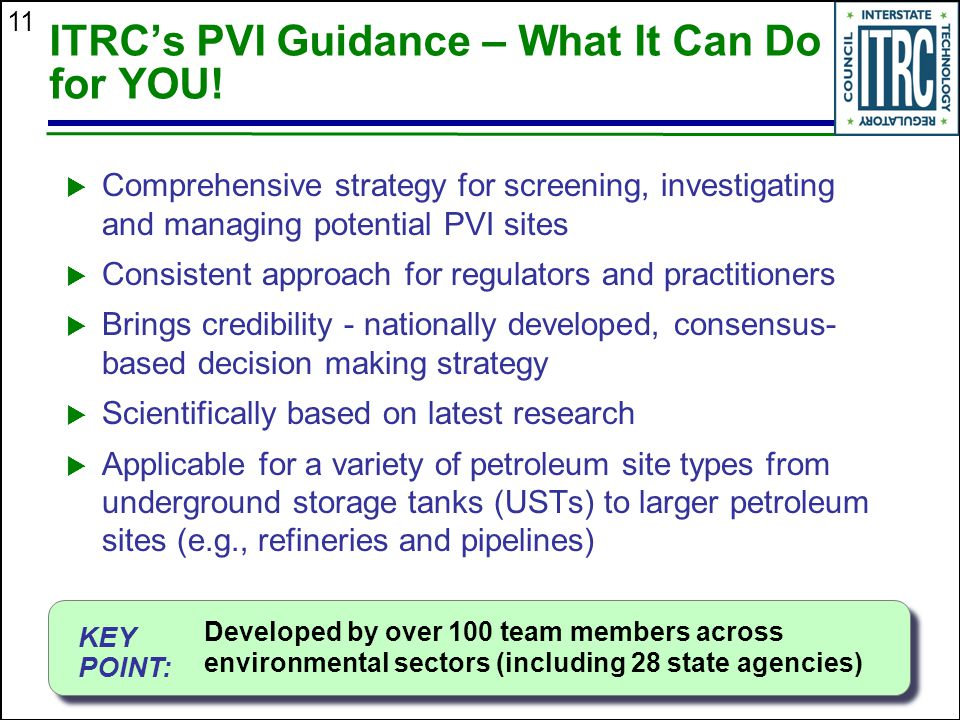 ITRC's PVI Guidance – What It Can Do for YOU!
