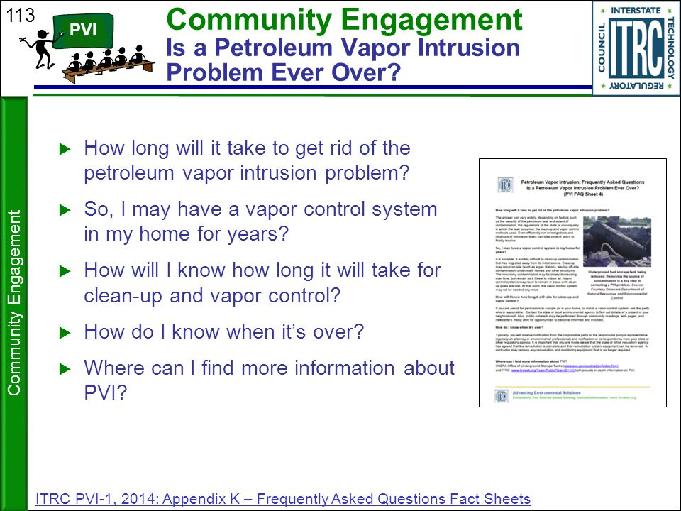 Community Engagement Is a Petroleum Vapor Intrusion Problem Ever Over