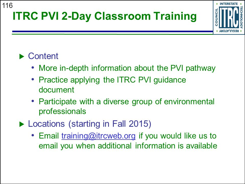 ITRC PVI 2-Day Classroom Training