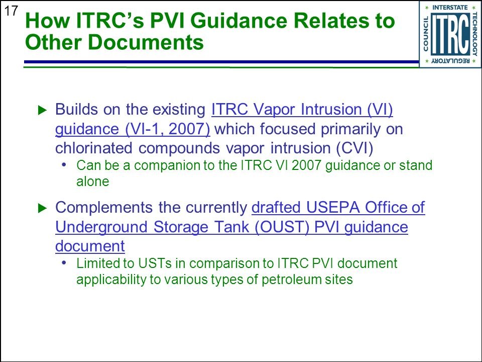 How ITRC's PVI Guidance Relates to Other Documents