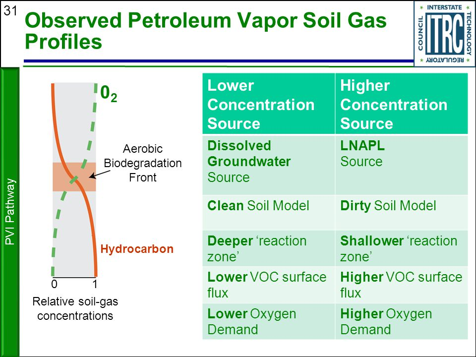 Observed Petroleum Vapor Soil Gas Profiles