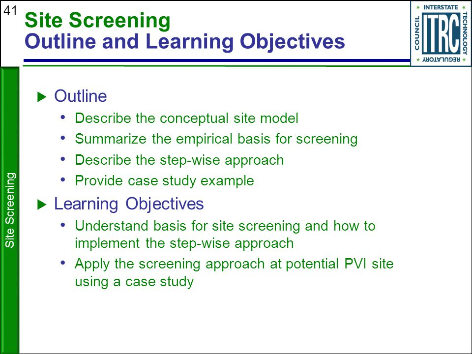 Site Screening Outline and Learning Objectives