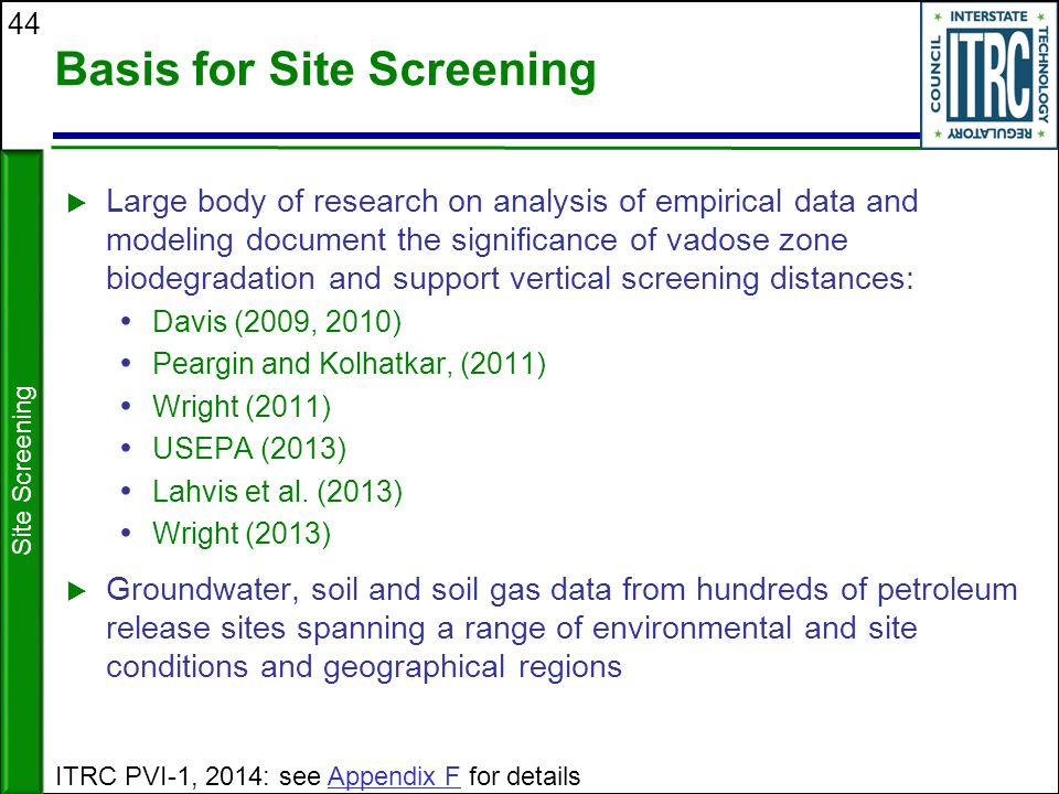 Basis for Site Screening