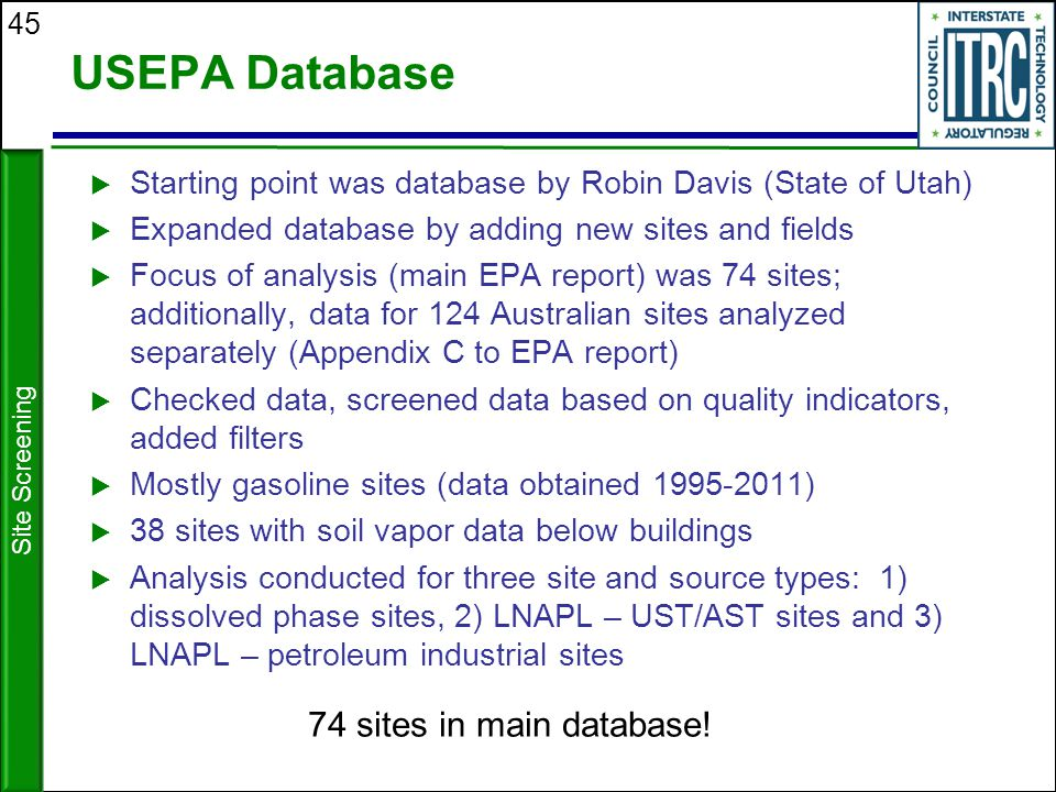 USEPA Database 74 sites in main database!